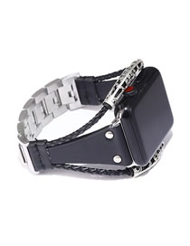 Fashion Black Leather Stainless Steel Watch (for Apple Iwatch)