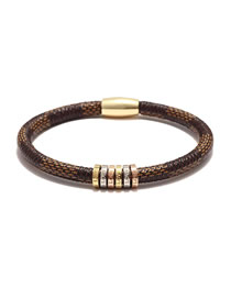 Fashion Brown Stainless Steel Cowhide Striped Alloy Magnetic Buckle Letter Love Bracelet