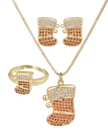 Fashion Gold Copper Inlaid Zircon Christmas Series Shoes Necklace Earrings Ring Set Of 3
