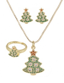 Fashion Gold Copper Inlaid Zircon Christmas Series Christmas Tree Necklace Earrings Ring Set Of 3