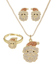 Fashion Gold Copper Inlaid Zircon Christmas Series Santa Claus Necklace Earrings Ring Set Of 3