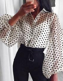 Fashion White Cardigan Perspective Wave Mesh Shirt