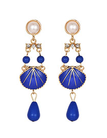 Fashion Blue Alloy Pearl Resin Beads Shell Earrings