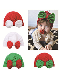 Fashion Four-color Mixing Contrast Bow Baby Cap