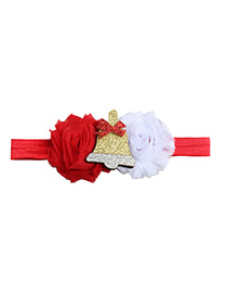 Fashion Red And White Old Flower Mosaic Bell Cartoon Patch Children's Hair Band