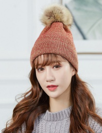 Fashion Red Wine Large Wool Ball Knitted Wool Cap