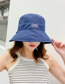 Fashion Navy Embroidered Double-sided Cotton Fisherman Hat
