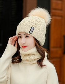 Fashion Beige Knitted Wool Hat Scarf One Suit