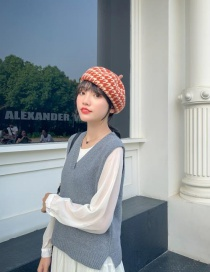 Fashion Orange Red Houndstooth Wool Beret