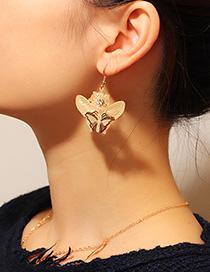 Fashion Gold Butterfly Copper Hollow Pierced Earrings
