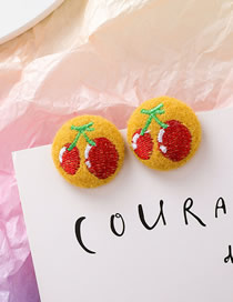 Fashion Cherry Embroidered Plush Round Fabric Hair Ball Stud Earrings