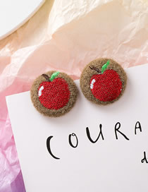 Fashion Apple Embroidered Plush Round Fabric Hair Ball Stud Earrings