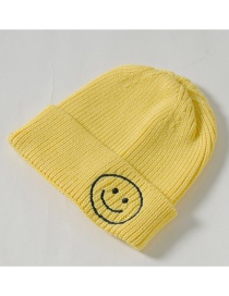 Fashion Yellow Knit Hat Embroidery Smiley Wool Child Cap
