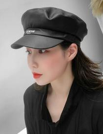 Fashion Black Pu Leather Flat Navy Cap