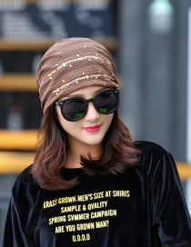 Fashion Coffee Lace Ribbon Diamond Head Cap