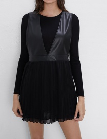Fashion Black Stitched Pleated Dress