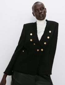 Fashion Black Breasted Tweed Jacket