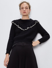 Fashion Black Pearl Laminated Sweater