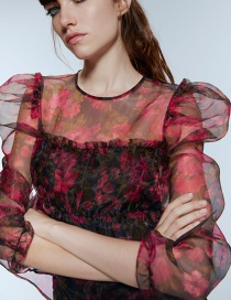 Fashion Red Printed Organza Shirt