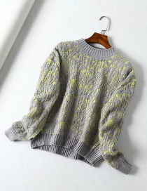 Fashion Green + Gray Double-layer Round Neck Pullover