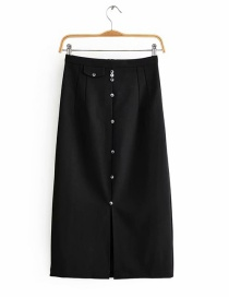 Fashion Black Single-breasted Split Skirt