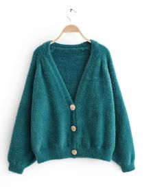 Fashion Lake Blue Imitation Water Velvet Plush Knit Cardigan