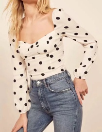 Fashion White Polka Dot Top