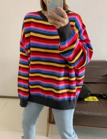 Fashion Black Colorful Red Striped Sweater