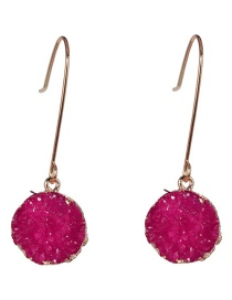 Fashion Red Geometric Epoxy Cluster Droplet Earrings