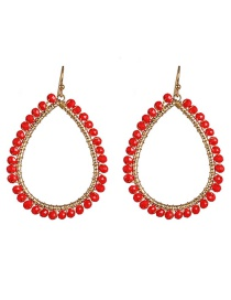 Fashion Red Full Diamond Drop Earrings
