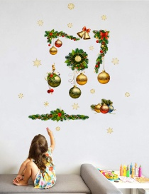 Fashion Color Christmas Ball Clock Wreath Wall Sticker