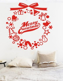Fashion Red Christmas Wreath Merrychristmas Wall Stickers