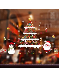 Fashion Color Christmas Tree Old Man Wall Sticker