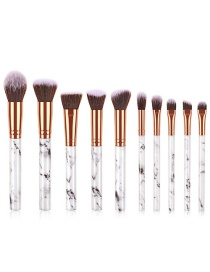 Fashion Black And White 10 Sticks With Marble Handle Brush