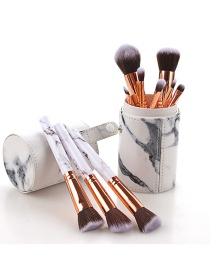 Fashion Black And White 10 Sticks Marble Handle Makeup Brush - With Bucket