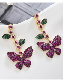 Fashion Rose Red S925 Sterling Silver Needle Leaves Butterfly Micro-inlaid Zircon Earrings