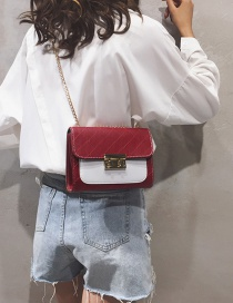 Fashion Red Contrast Stitching Chain Shoulder Messenger Bag