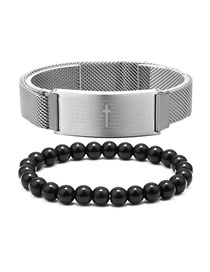 Fashion Steel Color + Black Agate Stainless Steel Scripture Cross Beaded Bracelet Set