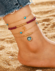Fashion Gold Rice Beads Hollow Star Multi-layer Round Sapphire Anklet 4 Piece Set