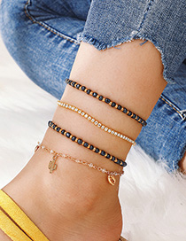 Fashion Gold Cactus Shell With Diamond Beads And Multi-layered Anklet 4 Piece Set