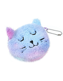 Fashion Smiling Purple Cartoon Cat Plush Purse