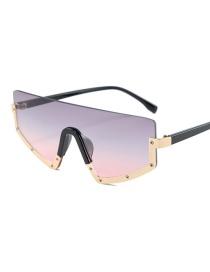 Fashion Gold Frame Gray Powder Half Frame Connected Lens Sunglasses