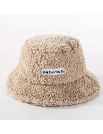 Fashion Beige Wool Velvet Letter Cap