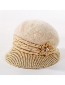 Fashion Beige Double-layer Plus Velvet Knitted Rabbit Hair Flower Pearl Basin Cap