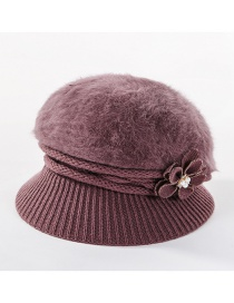 Fashion Pizi Double-layer Plus Velvet Knitted Rabbit Hair Flower Pearl Basin Cap