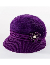 Fashion Purple Double-layer Plus Velvet Knitted Rabbit Hair Flower Pearl Basin Cap