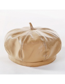 Fashion Beige Solid Color Leather Beret