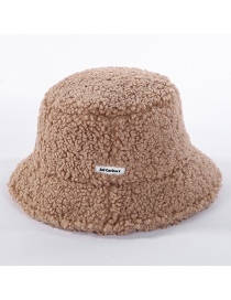 Fashion Camel Lamb Hair Thickening Fisherman Hat
