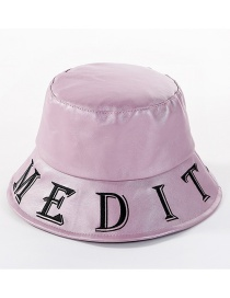 Fashion Pink Purple Pu Letter Basin Cap