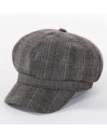 Fashion Coffee Color Lattice Octagonal Cap